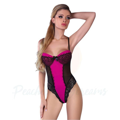 Sexy Black and Pink G-String Thong Body Playsuit for Women - Peaches & Screams