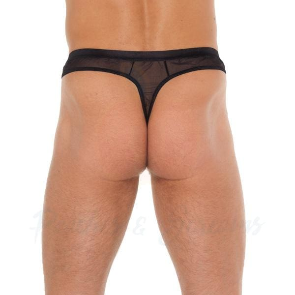 Sexy Black Mesh Sheer G-String for Men