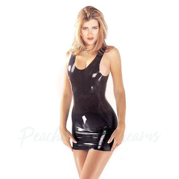 Sexy Black Sharon Sloane Latex Mini Fetish Dress - Necronomicox