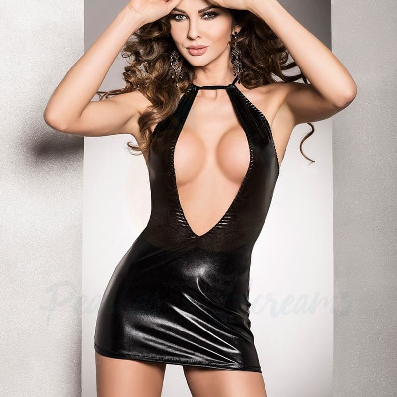 Sexy Black Wet Look Mini-Dress with Low Neckline with G-String - Necronomicox