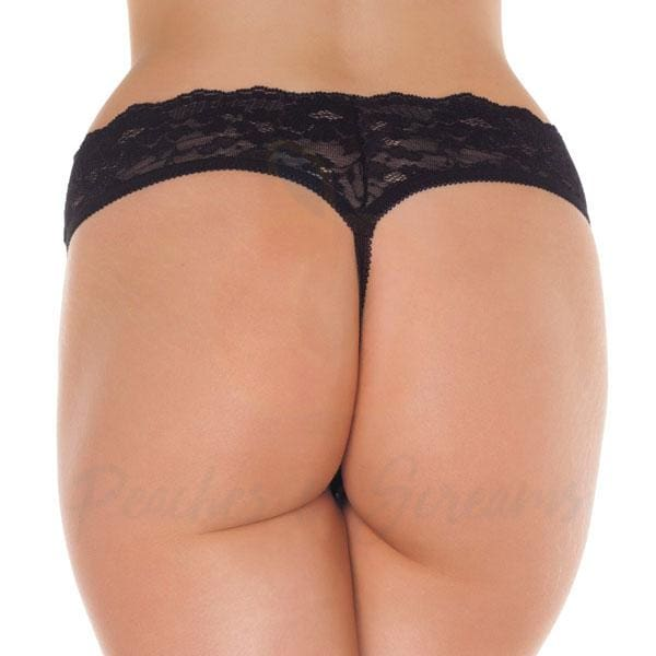 Sexy Floral Lace Open-Crotch G-String Thong for Women - Necronomicox