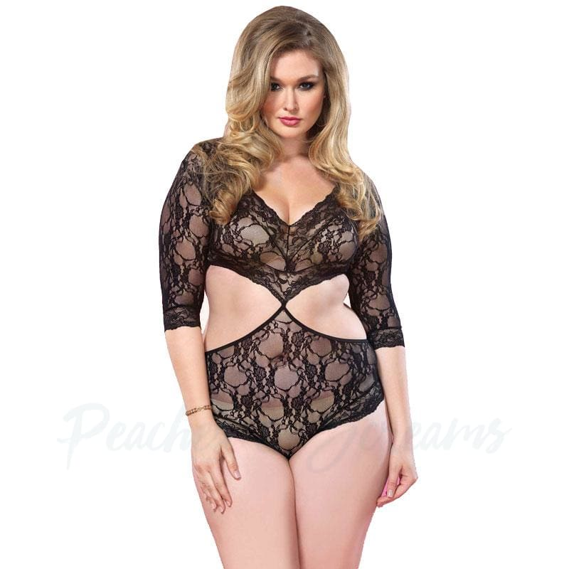 Sexy Plus-Size Black Floral Lace Teddy Playsuit with Cut-Out Side Detail - Necronomicox