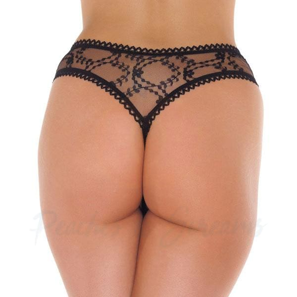 Sexy Sheer Black See-Through Floral Crotchless G-String Thong - 🍑 Necronomicox