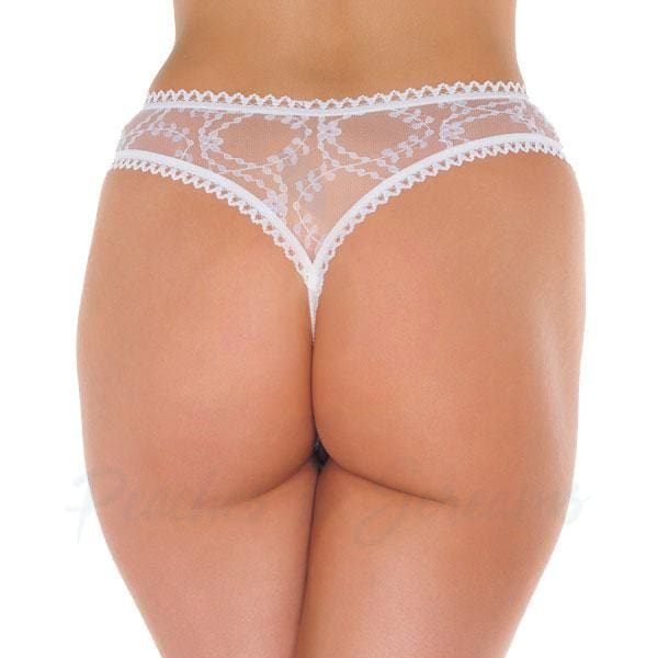 Sexy Sheer White See-Through Floral Crotchless G-String Thong - Peaches and Screams