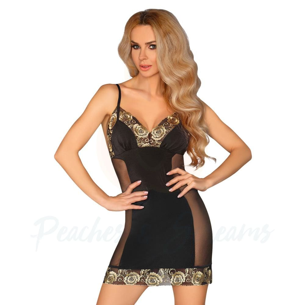 Sexy Super Soft Black Chemise with Gold Trim and Matching G-String - 🍑 Peaches and Screams