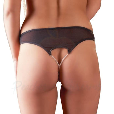Sheer Black G-String with 2 Pearl Strings on Open Crotch - Peaches and Screams