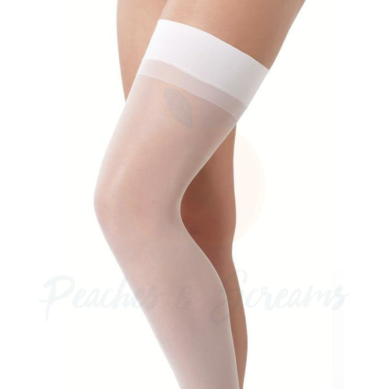 Sheer White Sexy Stockings - Peaches and Screams