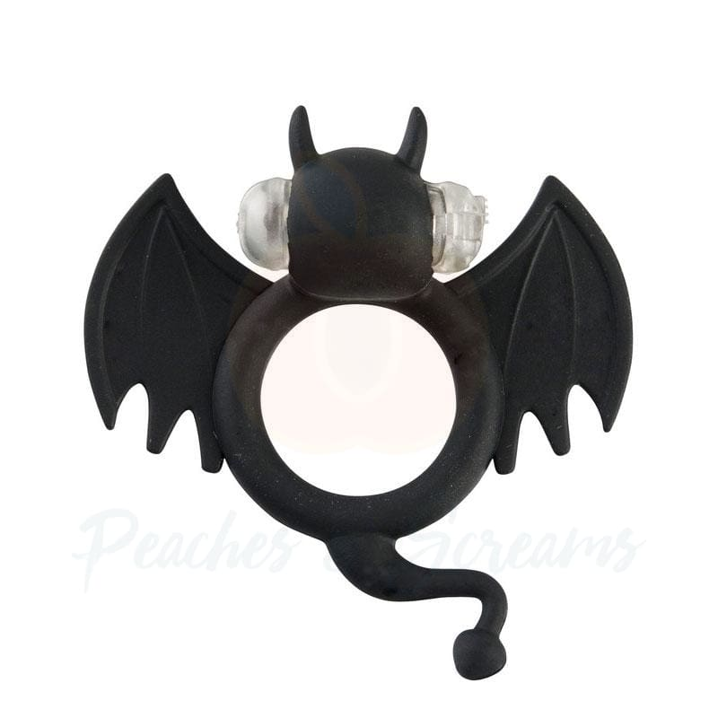 Shots Badbat Black Silicone Vibrating Cock Ring - Necronomicox