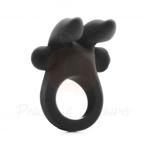Shots Black Rabbit Cock Ring with Clit Stim - Peaches and Screams
