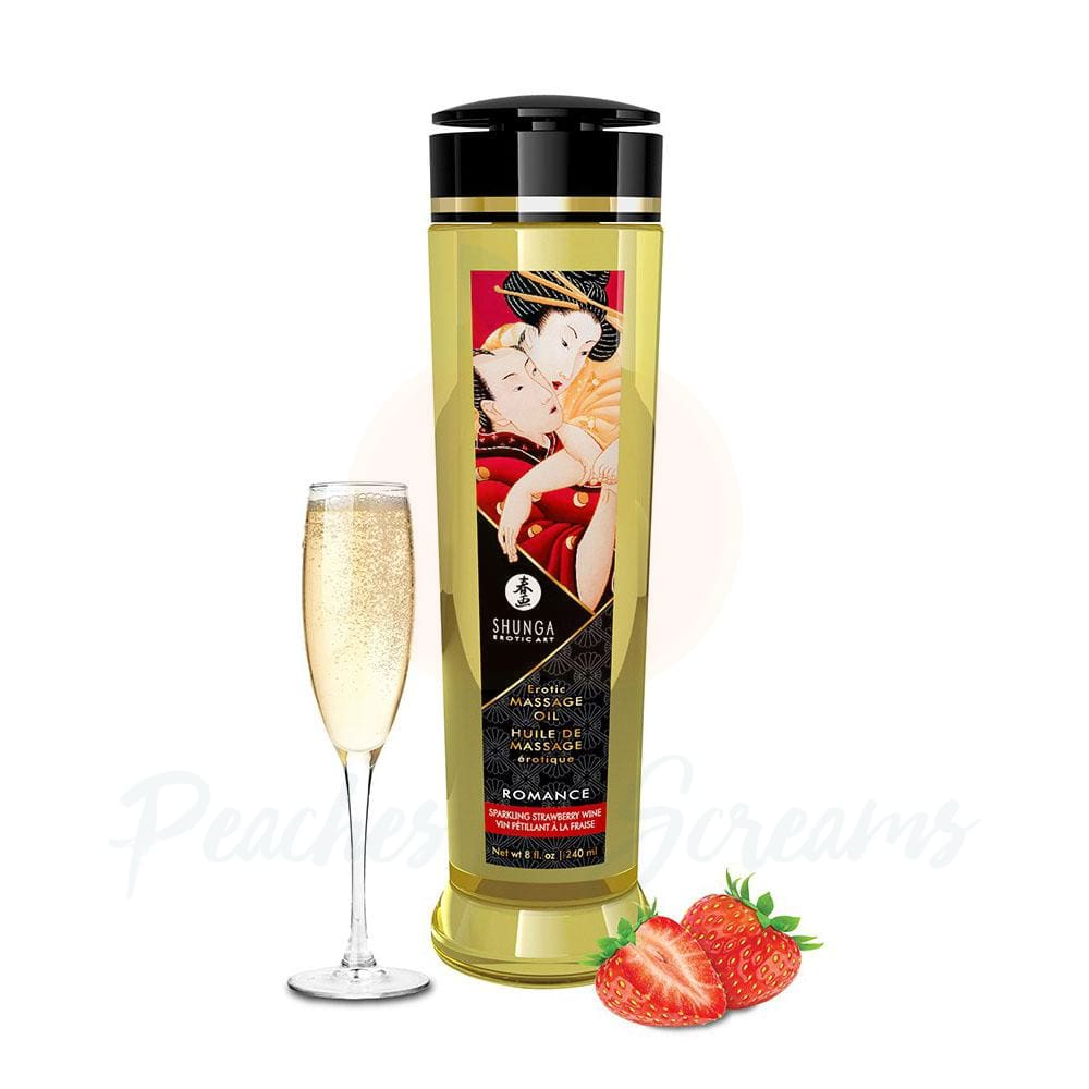 Shunga Massage Oil Romance Sparkling Strawberry Wine 240ml - 🍑 Peaches and Screams