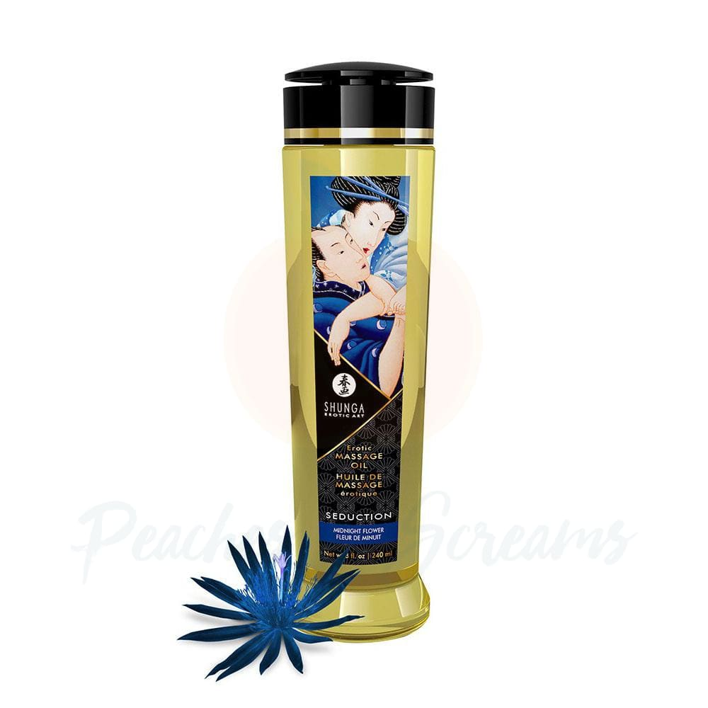 Shunga Massage Oil Seduction Midnight Flower 240ml - 🍑 Peaches and Screams