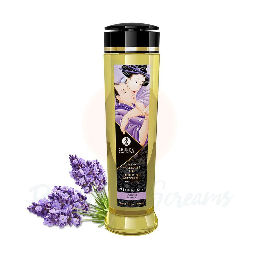 Shunga Massage Oil Sensation Lavender 240ml - 🍑 Peaches and Screams