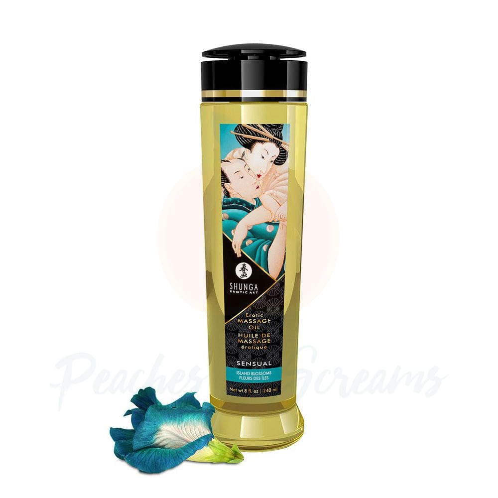 Shunga Massage Oil Sensual Island Blossoms 240ml - 🍑 Peaches and Screams