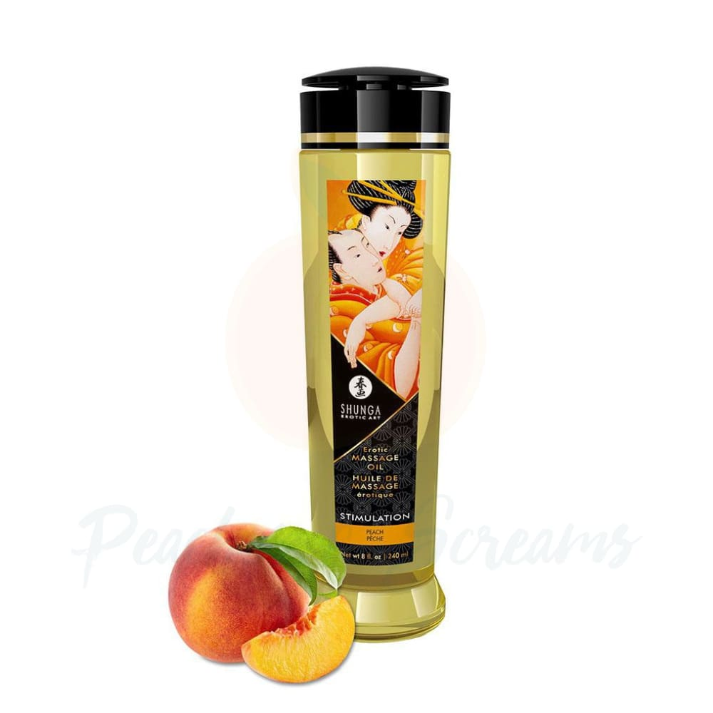 Shunga Massage Oil Stimulation Peach 240ml - 🍑 Peaches and Screams