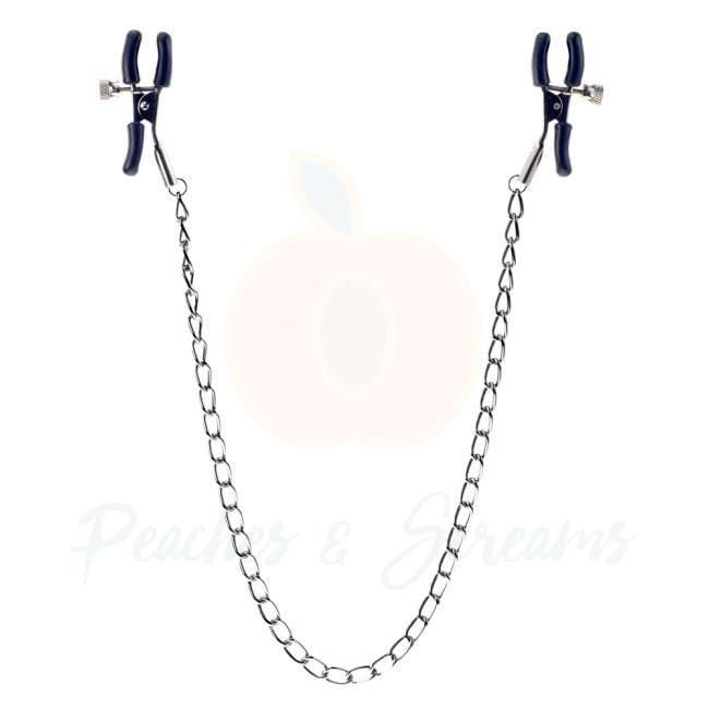 Silver BDSM Bondage Nipple Clamps with Metal Chain - Necronomicox