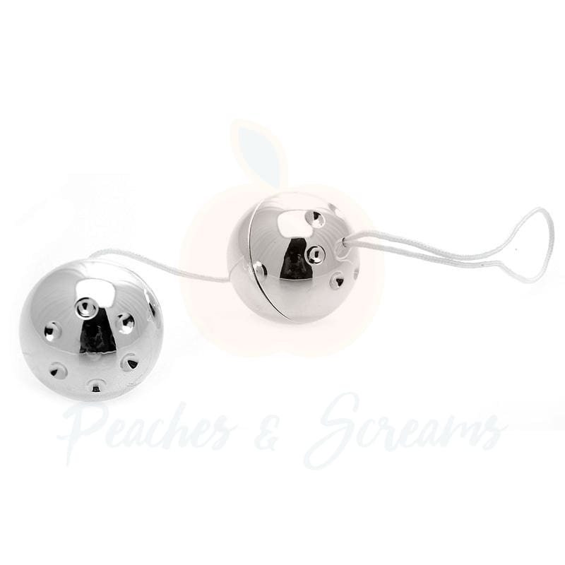 Silver Orgasm Balls with Easy-Retrieval Cords Set of 2 Balls - Necronomicox