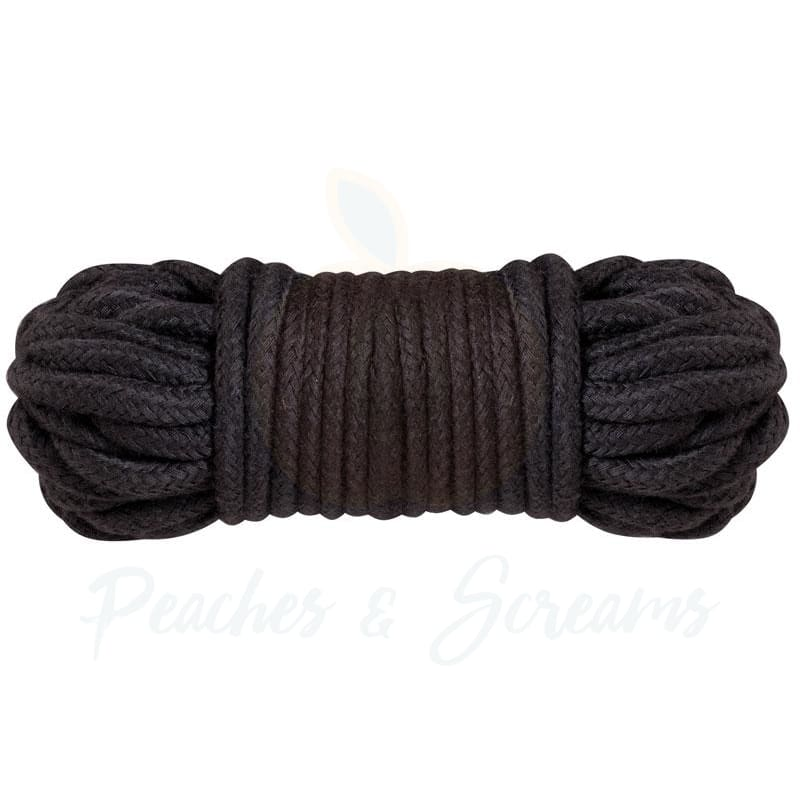 Soft Black Cotton Rope for BDSM Bondage Play 10m - Necronomicox