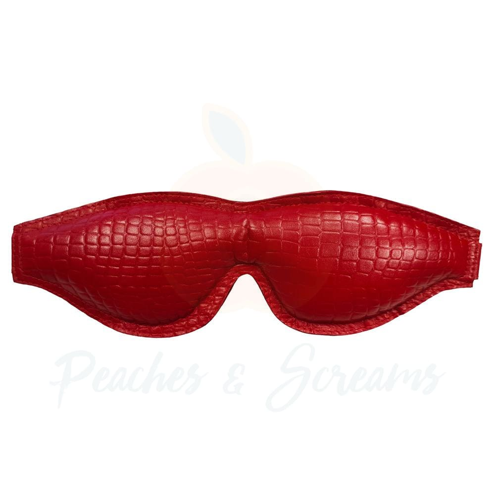 Soft Padded Leather Blindfold in Burgundy Snake Print and Black - Peaches and Screams