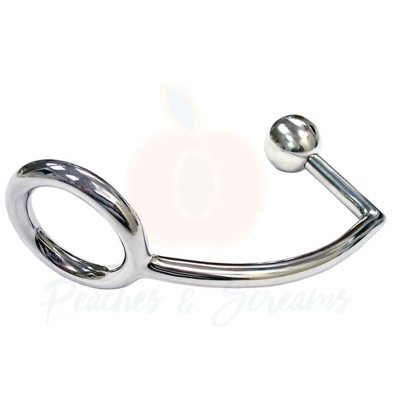Stainless Steel Bondage Cock Ring with Anal Probe - Necronomicox