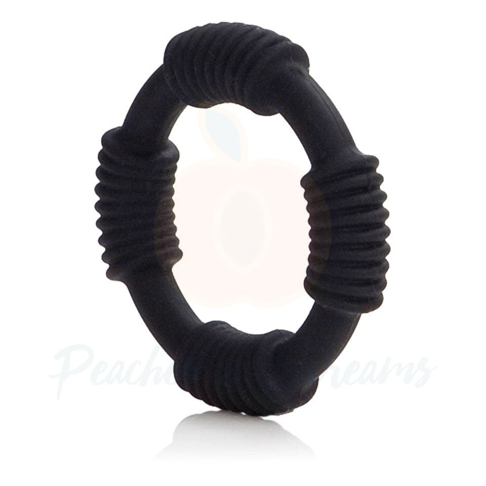 Stretchy Black Cock Love Ring with Stimulating Ridges - Peaches and Screams