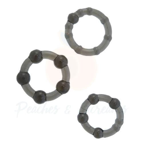 Stretchy Black Cock Ring Set with 3 Different-Sized Rings - Peaches and Screams
