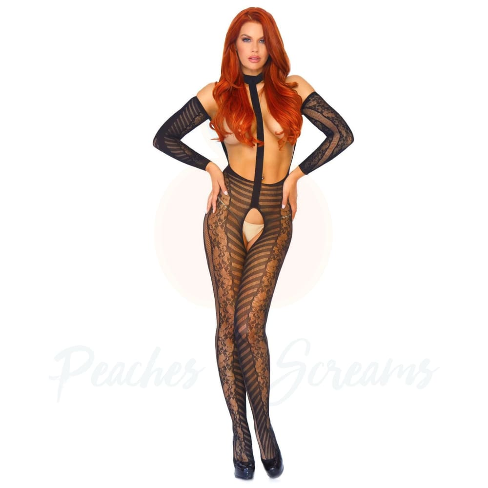Stretchy Nylon Reversible Long Sleeved Lace Bodystocking Sexy Lingerie UK 814 - Necronomicox