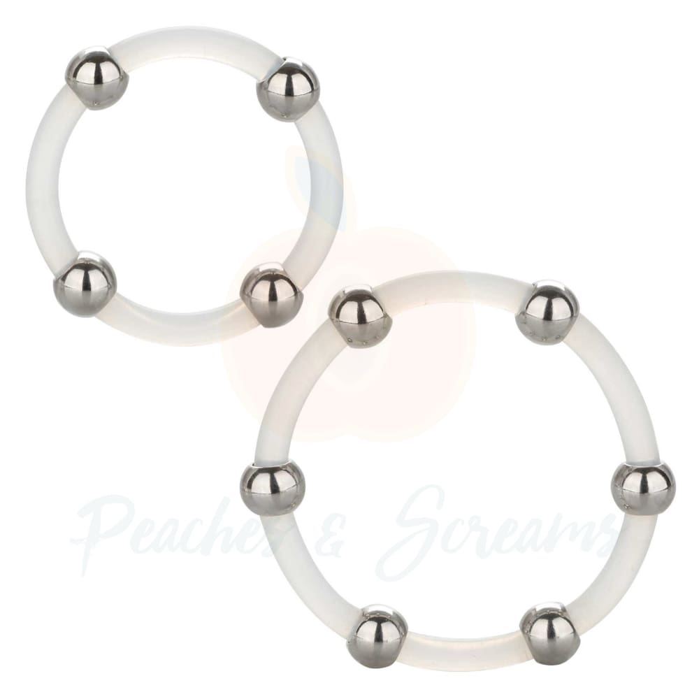 Stretchy Steel Beaded Silicone Cock Ring Set for Men - 🍑 Peaches and Screams
