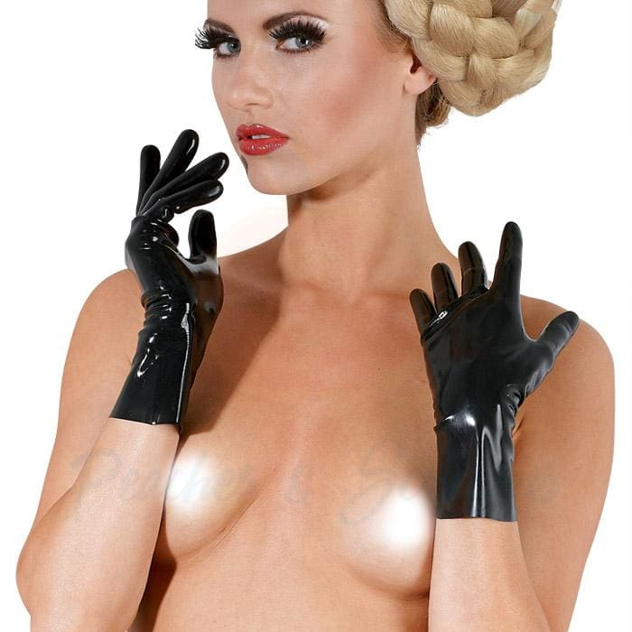 The LateX Black Fetish Latex Rubber Gloves - Peaches and Screams