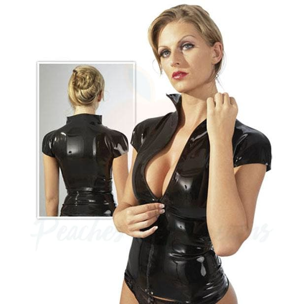 The LateX Black Fetish Zip Shirt for Her - Peaches and Screams