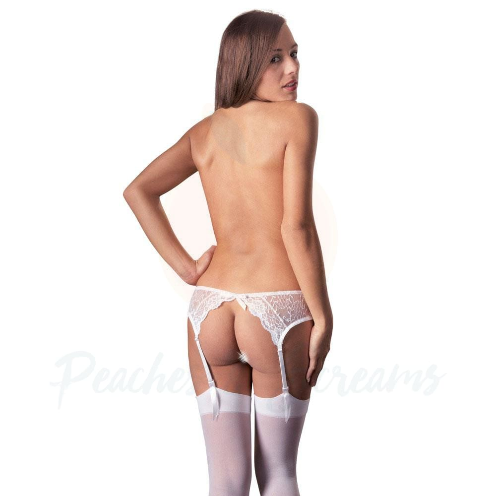 White Sexy Lingerie Suspender Set - S/M - 🍑 Peaches and Screams