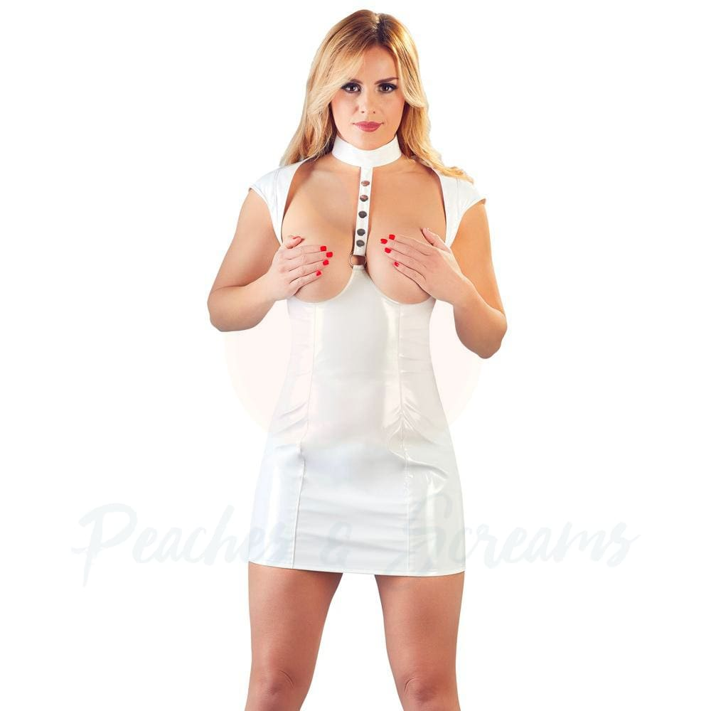 White Vinyl Cupless Dress - 🍑 Peaches and Screams