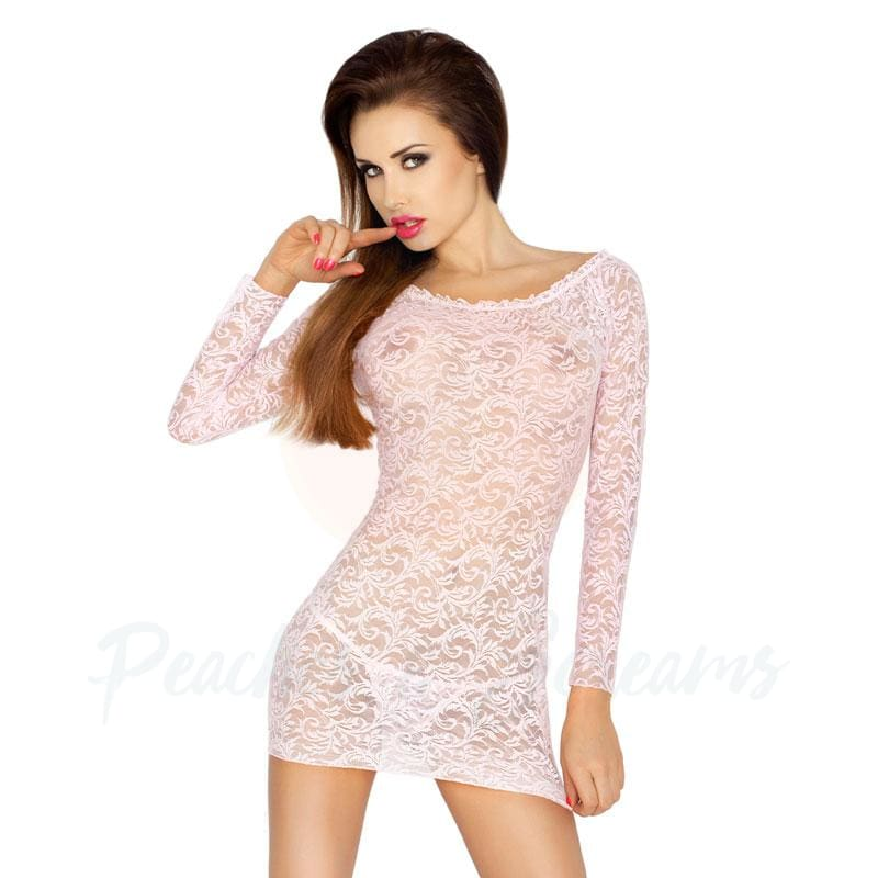 Women's Light Pink Long-Sleeved Lace Chemise with Matching Thong - 🍑 Peaches and Screams