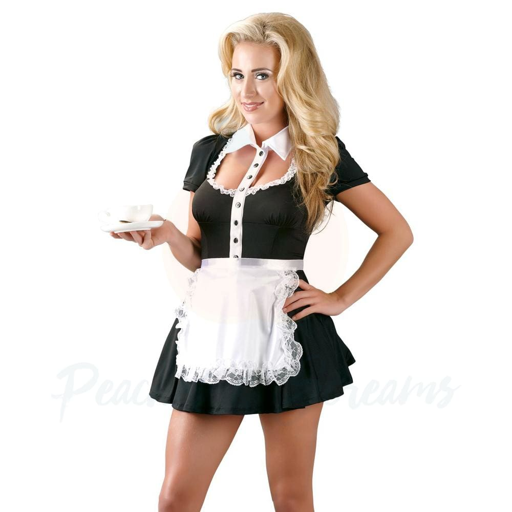 Womens Sexy Black Maids Dress Costume for Adult Roleplay - Small - Peaches and Screams