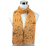 High Quality Music Note Print Chiffon Long Scarf