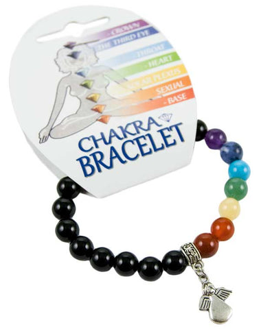 Chakra Elasticated Bracelet with Guardian Angel Charm