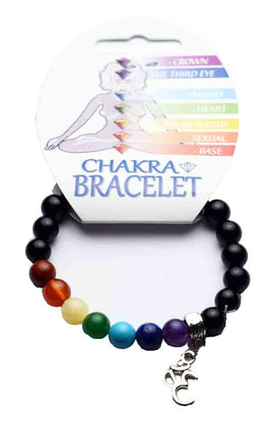 Chakra Elasticated Bracelet - with Ohm Charm