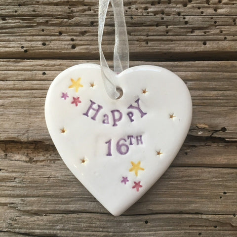 Happy 16th Birthday Ceramic Hanging Heart