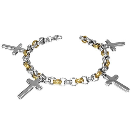Stainless Steel Link Bracelet with 4 Crosses