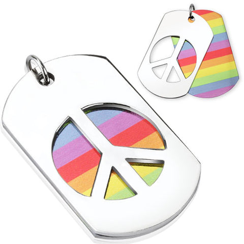 "Stainless Steel Rainbow Peace Dog Tags Pendant 20"" chain"