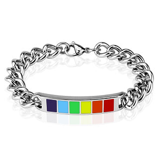 Stainless Steel Rainbow ID Style Bracelet from Mystical and Magical