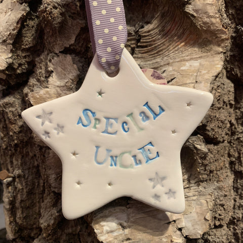 Special Uncle Ceramic Hanging Star