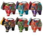 Carved Wooden Hand Painted Elephant Tealight Holder