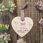You Are Amazing Hanging Ceramic Heart