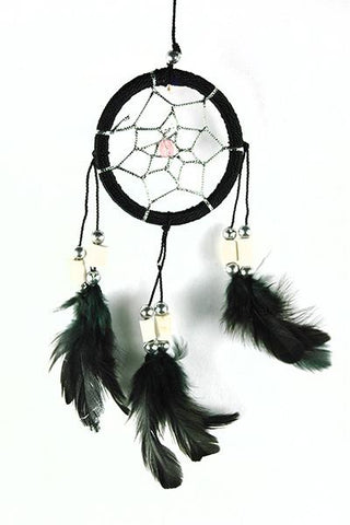 Black Dreamcatcher with Bone Beads and Feathers.
