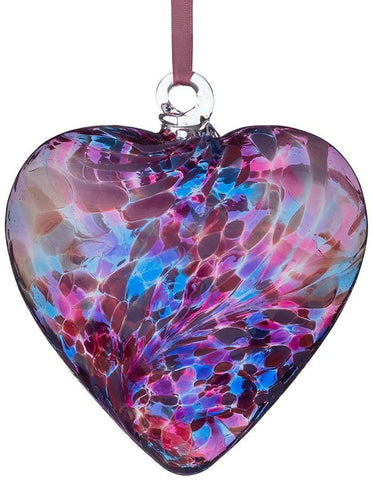 Glass Friendship Heart - Blue and Pink