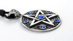 Blue Celtic  Pentagram Pentacle Necklace