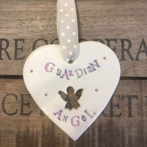 Guardian Angel Ceramic Heart with Hanging Ribbon