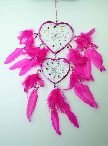 Pink Hearts Dreamcatcher with Beads and Feathers.