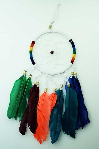 Dreamcatcher White with Rainbow and Feathers
