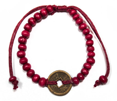Good Luck Coin Feng Shui Red Beads Bracelet from Mystical and Magical